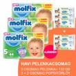 Molfix Havi pelenkacsomag 3+2 csomag zöld popsitörlővel! (5-ös) 11 - 18 kg