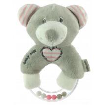 Baby Mix Tanuló játék Maci plüss csörgő, rózsa