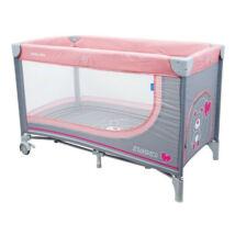 Baby Mix Utazó ágy Rózsa-szürke macika, 196 120 * 68 * 70 cm