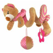 Baby Mix Plüssállat Macis spirál, rágókával, élénk pink