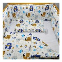 Babakirály Gyermek ágynemű szett Bébi méret, Erdei állatok, kék 75 * 100 cm (3 db/sz)