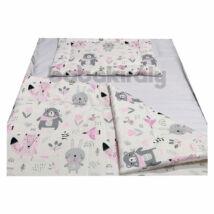 Babakirály Gyermek ágynemű szett Bébi méret, Erdei állatok, rózsa 75 * 100 cm (2 db/sz)