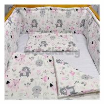 Babakirály Gyermek ágynemű szett Bébi méret, Erdei állatok, rózsa 75 * 100 cm (3 db/sz)