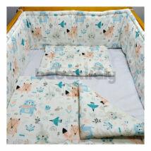 Babakirály Gyermek ágynemű szett Bébi méret, Erdei állatok, türkiz 75 * 100 cm (3 db/sz)