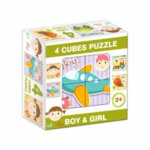 """D-Toys Tanuló játék Mesekocka """"fiús-lányos"""" (4 db/cs)"""