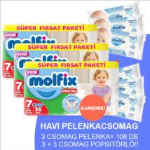 Molfix Havi pelenkacsomag Pants, 3+3 csomag sensitive popsitörlővel! (7-es) 19+ kg