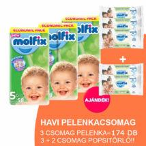 Molfix Havi pelenkacsomag Gigapack, 3+2 csomag zöld popsitörlővel! (5-ös) 11 - 18 kg