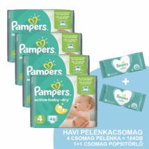 Pampers Active Baby Havi pelenkacsomag 1 + 1 csomag ajándék Pampers sensitive törlőkendővel! (4-es) 8 - 14 kg