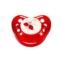 BabyBruin Játszócumi Katica, piros szilikon fogszabályzós (méret: 1) 0 - 6 hó