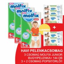 Molfix Havi pelenkacsomag Pants, 3+2 csomag zöld popsitörlővel! (5-ös) 11 - 18 kg