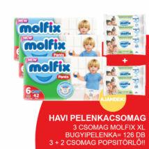 Molfix Havi pelenkacsomag Pants, 3+2 csomag zöld popsitörlővel! (6-os) 15 - 22 kg