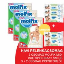 Molfix Havi pelenkacsomag Pants, 3+2 csomag zöld popsitörlővel! (3-as) 6 - 11 kg