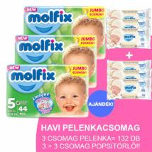 Molfix Havi pelenkacsomag 3+3 csomag popsitörlővel! (5-ös) 11 - 18 kg