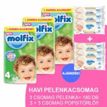 Molfix Havi pelenkacsomag 3+3 csomag popsitörlővel! (4-es) 7 - 14 kg