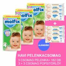 Molfix Havi pelenkacsomag 3+3 csomag popsitörlővel! (4+-os) 9 - 16 kg