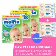 Molfix Havi pelenkacsomag 3+3 csomag popsitörlővel! (3-as) 4 - 9 kg