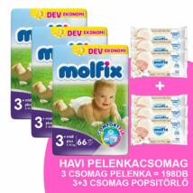 Molfix Havi pelenkacsomag 3+3 csomag popsitörlővel! (3+-os) 5 - 10 kg