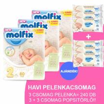 Molfix Havi pelenkacsomag 3+3 csomag popsitörlővel! (2-es) 3 - 6 kg