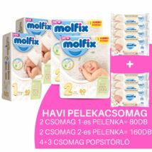 Molfix Havi pelenkacsomag 4+3 csomag popsitörlővel! (1-es) 2 - 5 kg