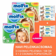 Molfix Havi pelenkacsomag 3+2 csomag zöld popsitörlővel! (6-os) 15 - 30 kg