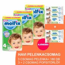 Molfix Havi pelenkacsomag 3+2 csomag zöld popsitörlővel! (4-es) 7 - 14 kg