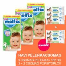Molfix Havi pelenkacsomag 3+2 csomag zöld popsitörlővel! (4+-os) 9 - 16 kg