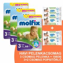 Molfix Havi pelenkacsomag 3+2 csomag zöld popsitörlővel! (3+-os) 5 - 10 kg