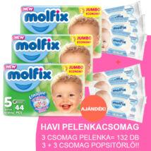 Molfix Havi pelenkacsomag 3+3 csomag sensitive popsitörlővel! (5-ös) 11 - 18 kg