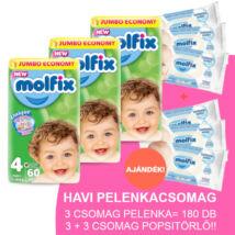 Molfix Havi pelenkacsomag 3+3 csomag sensitive popsitörlővel! (4-es) 7 - 14 kg