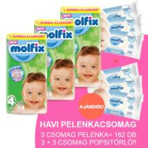 Molfix Havi pelenkacsomag 3+3 csomag sensitive popsitörlővel! (4+-os) 9 - 16 kg