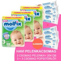 Molfix Havi pelenkacsomag 3+3 csomag sensitive popsitörlővel! (3-as) 4 - 9 kg