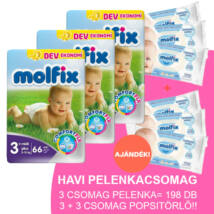 Molfix Havi pelenkacsomag 3+3 csomag sensitive popsitörlővel! (3+-os) 5 - 10 kg