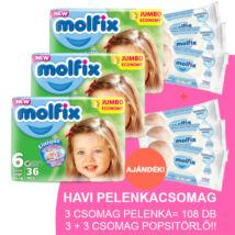 Molfix Havi pelenkacsomag 3+3 csomag sensitive popsitörlővel! (6-os) 15 - 30 kg