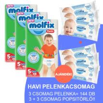 Molfix Havi pelenkacsomag Pants, 3+3 csomag sensitive popsitörlővel! (5-ös) 12 - 17 kg
