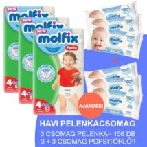 Molfix Havi pelenkacsomag Pants, 3+3 csomag sensitive popsitörlővel! (4-es) 9 - 14 kg