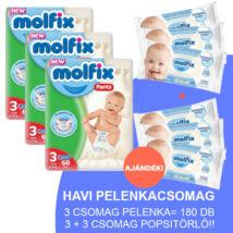 Molfix Havi pelenkacsomag Pants, 3+3 csomag sensitive popsitörlővel! (3-as) 6 - 11 kg