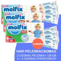 Molfix Havi pelenkacsomag Pants, 3+3 csomag sensitive popsitörlővel! (6-os) 15+ kg