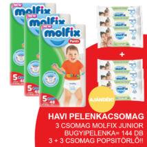 Molfix Havi pelenkacsomag Pants, 3+3 csomag zöld popsitörlővel! (5-ös) 12 - 17 kg