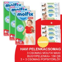 Molfix Havi pelenkacsomag Pants, 3+3 csomag zöld popsitörlővel! (4-es) 9 - 14 kg
