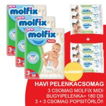 Molfix Havi pelenkacsomag Pants, 3+3 csomag zöld popsitörlővel! (3-as) 6 - 11 kg