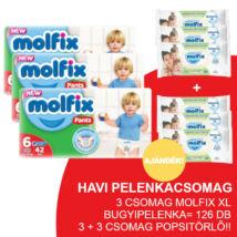 Molfix Havi pelenkacsomag Pants, 3+3 csomag zöld popsitörlővel! (6-os) 15+ kg