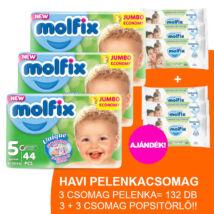 Molfix Havi pelenkacsomag 3+3 csomag zöld popsitörlővel! (5-ös) 11 - 18 kg