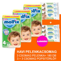 Molfix Havi pelenkacsomag 3+3 csomag zöld popsitörlővel! (4-es) 7 - 14 kg