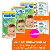Molfix Havi pelenkacsomag 3+3 csomag zöld popsitörlővel! (4+-os) 9 - 16 kg