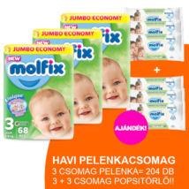 Molfix Havi pelenkacsomag 3+3 csomag zöld popsitörlővel! (3-as) 4 - 9 kg