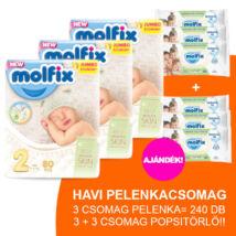 Molfix Havi pelenkacsomag 3+3 csomag zöld popsitörlővel! (2-es) 3 - 6 kg