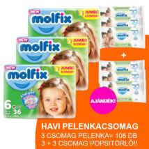 Molfix Havi pelenkacsomag 3+3 csomag zöld popsitörlővel! (6-os) 15 - 30 kg