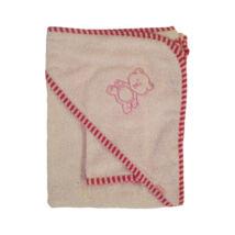 Stella Fürdőlepedő vastag, rózsaszín, mosdókesztyűvel 110 * 110 cm