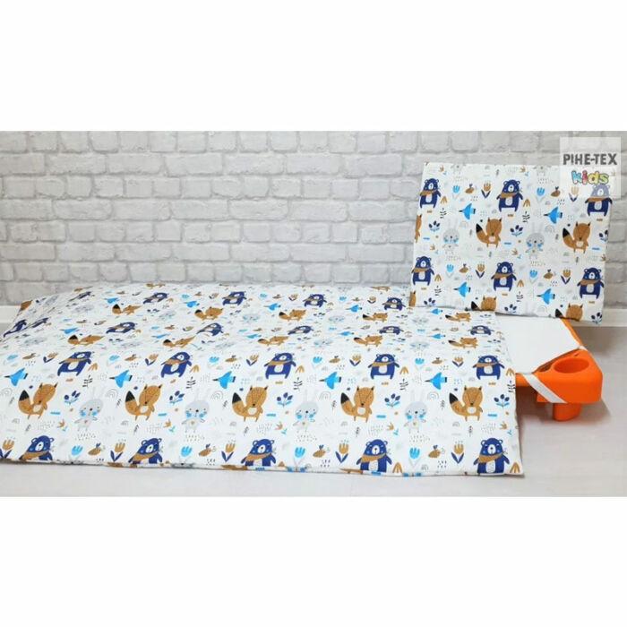 Pihetex Gyermek ágynemű szett Erdei állatok, kék 90 * 140 cm
