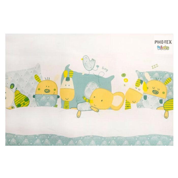 Pihetex Gyermek ágynemű szett Alvó állatok, zöld 90 * 140 cm